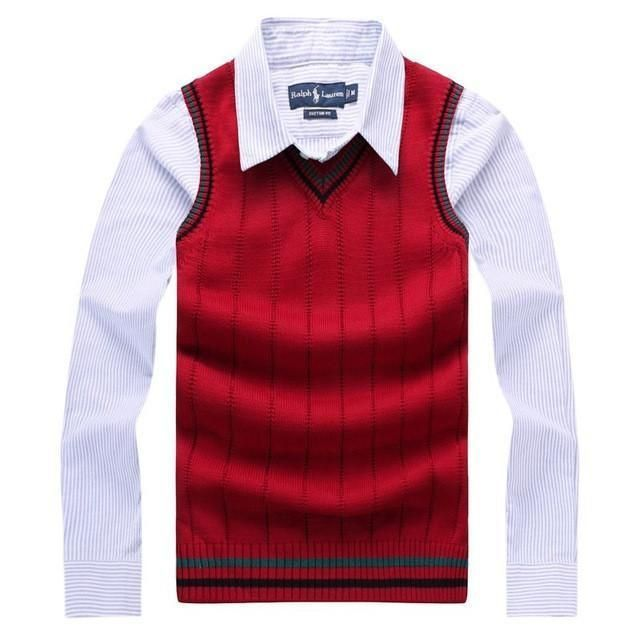 Buy Men Sweaters Knitted Sleeveless Sweaters V-Neck Cotton ...