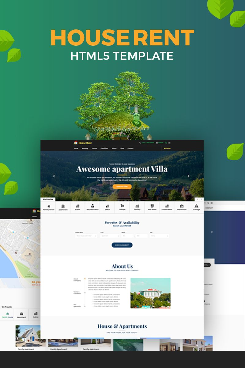 Houserent Multi Concept House And Apartment Rent Html Website Template Website Template Apartments For Rent Templates