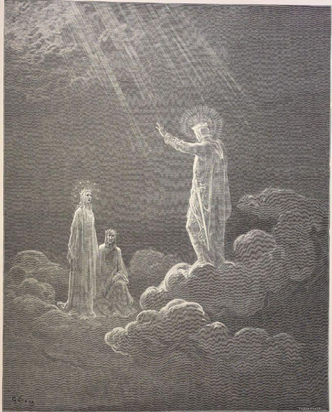 Paradise: Charles Martel addresses Dante and Beatrice  Creator: Doré, Gustave  Date: c.1868