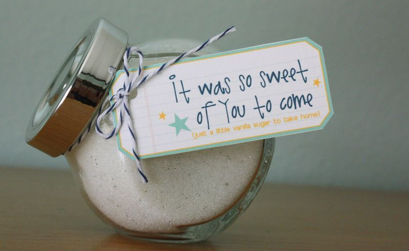 coffee bar at bridal shower take home gift of vanilla sugar