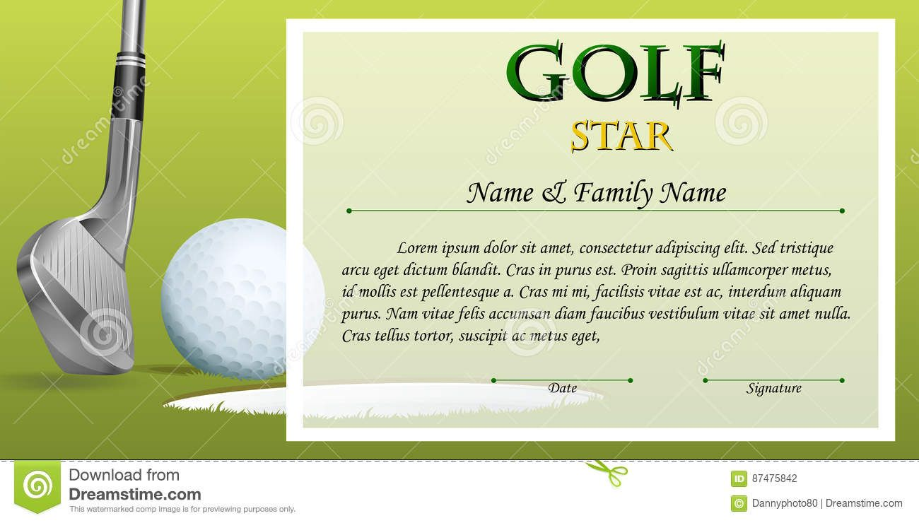The Terrific Certificate Template For Golf Star With Green Background With Golf Gift Certifi Gift Certificate Template Certificate Templates Funny Certificates