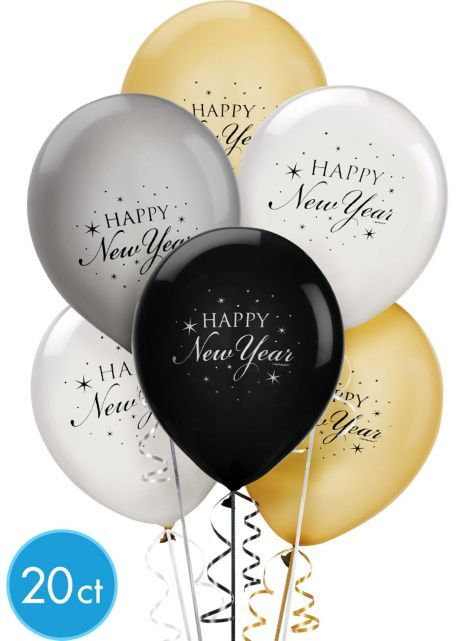 Black Silver And Gold New Years Latex Balloons