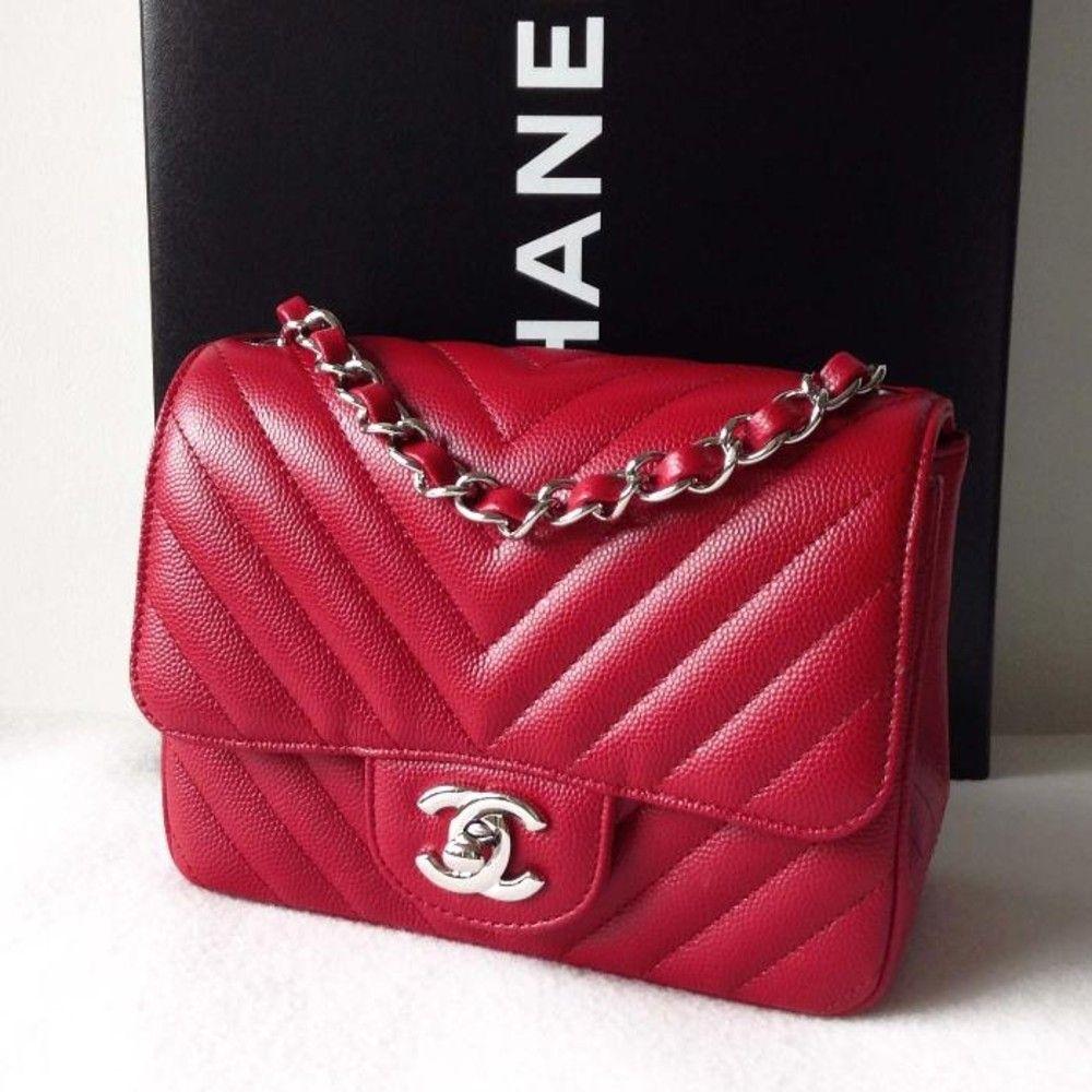 cbf043c1 Chanel mini Chevron in red | Handbags | Chanel shoulder bag, Bags ...
