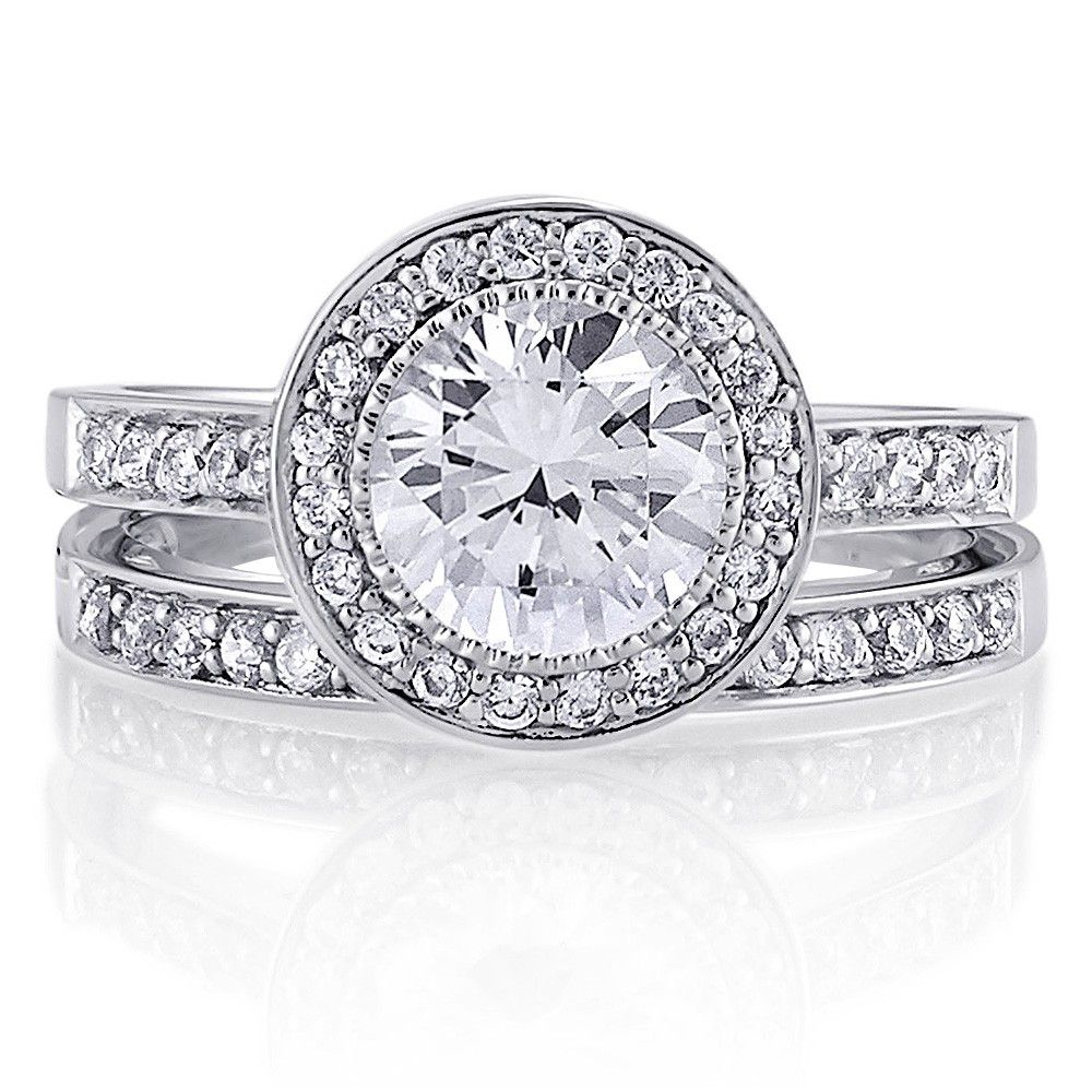Sterling Silver Round Cubic Zirconia CZ Halo Ring Set 1.73 ct.tw