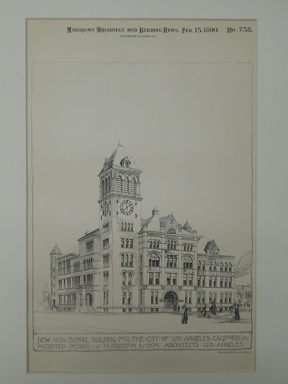 New high school building los angeles ca 1890 original plan j n