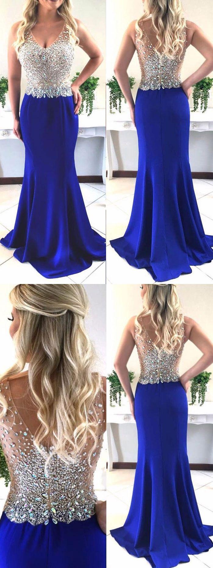 Mermaid vneck sweep train satin sequined royal blue prom dress