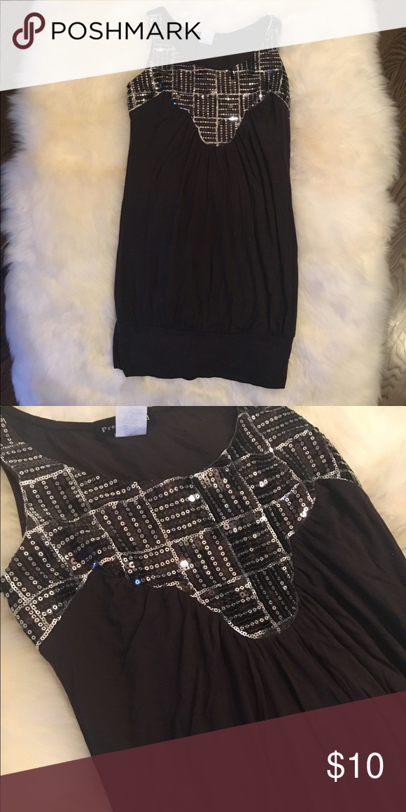 2d605004 Tunic sequin top Dark brown tunic top with silver sequins; could be worn as mini  dress, but best as a long top! Tops Tunics