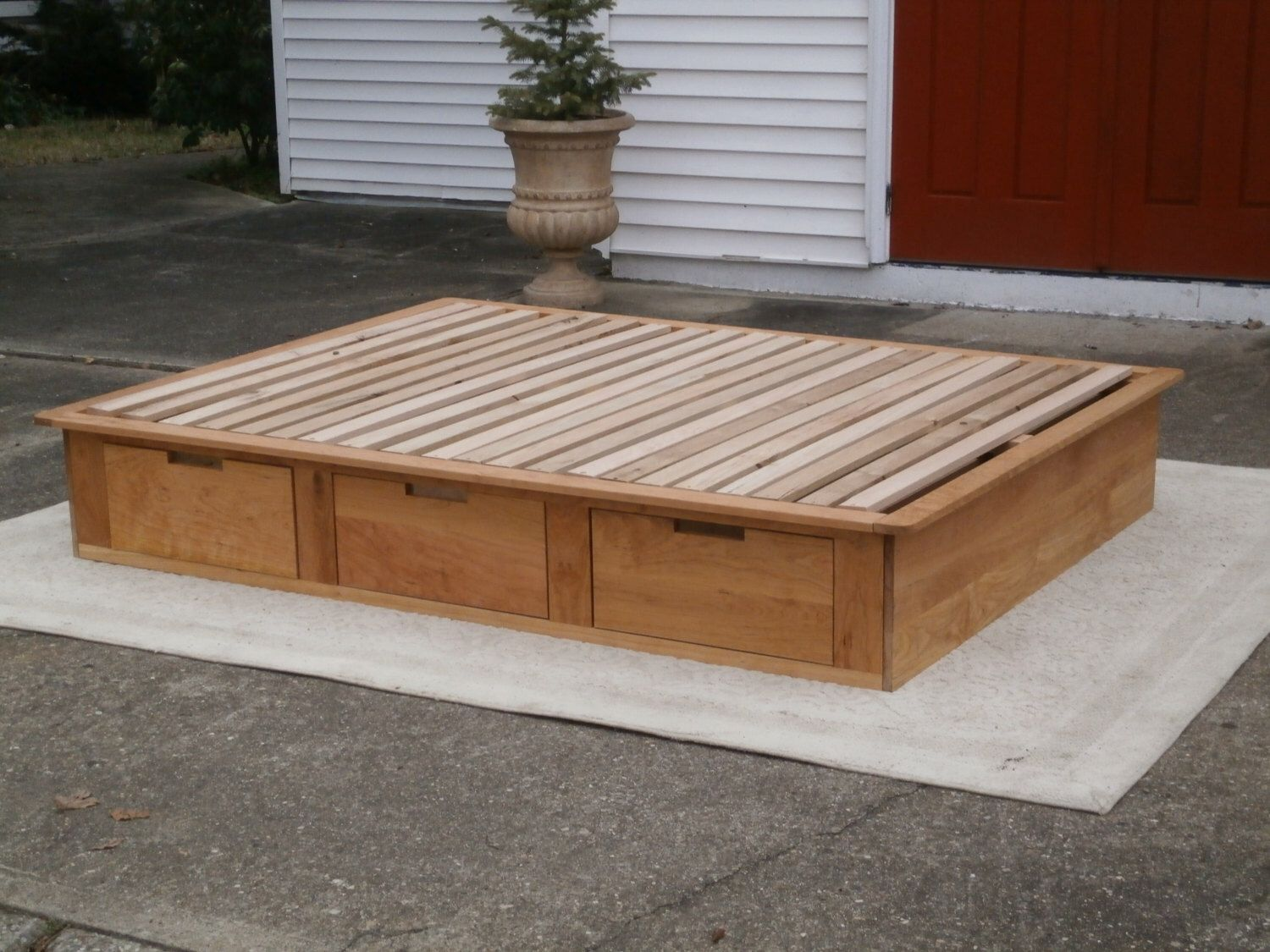 low platform bed or tatami bed with 6 drawers natural color by on etsy