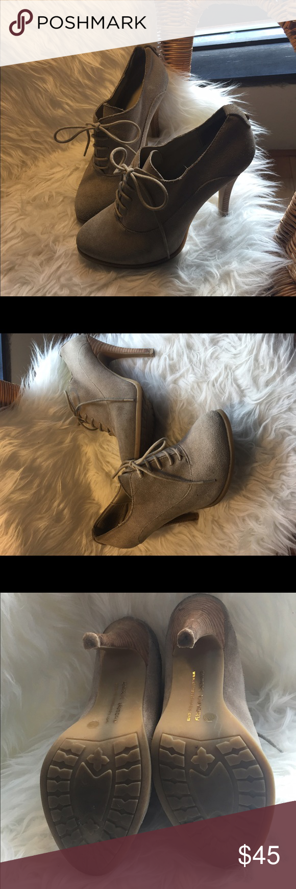 Lannie Bootie Fall 2014 #chineselaundrybooties  Very comfy! neutral color looks great with denim + perfect for the office  (minor scratches on the heel, otherwise great condition) Chinese Laundry Shoes Heeled Boots