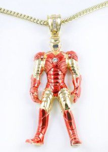 Huge Iced Out Iron Man Pendant 36 Franco Chain New 3d Gold