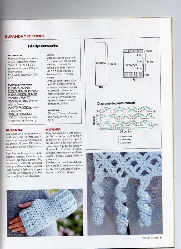 Mitones Crochet Punto bajo o enano | ACCESORIOS Bufandas Gorros ...