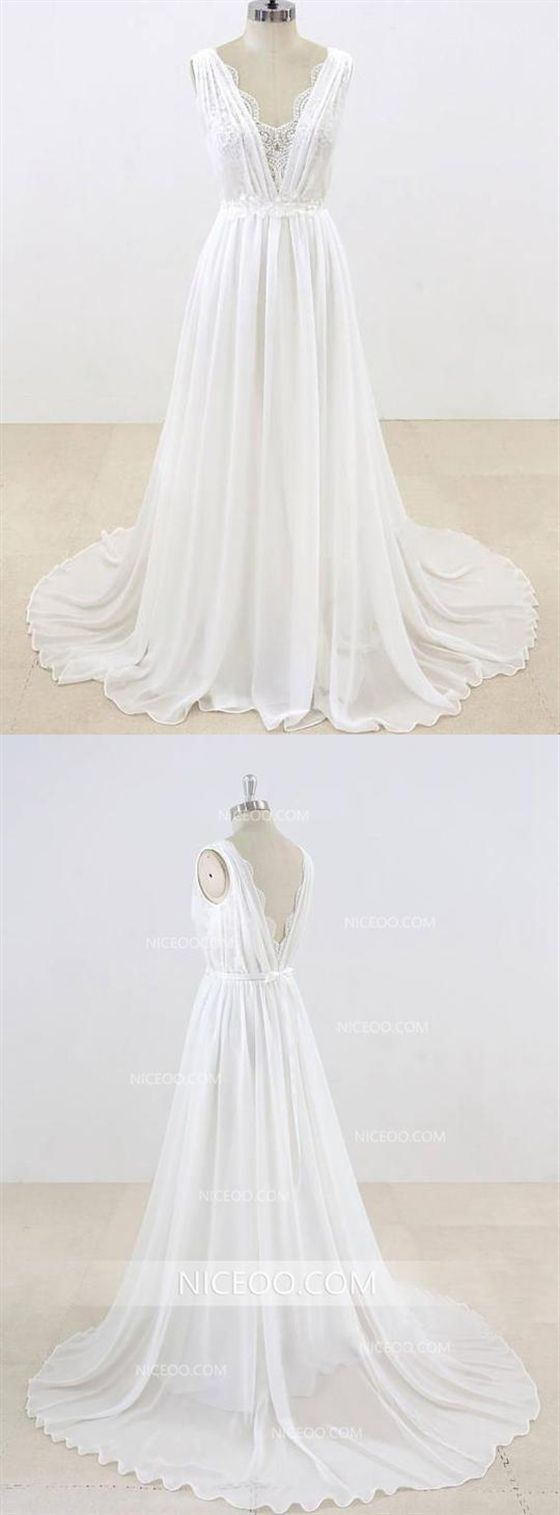 Sleeveless Sweetheart Open Back Empire Waist Wedding Dresses Bride Gown #civilweddingdresses