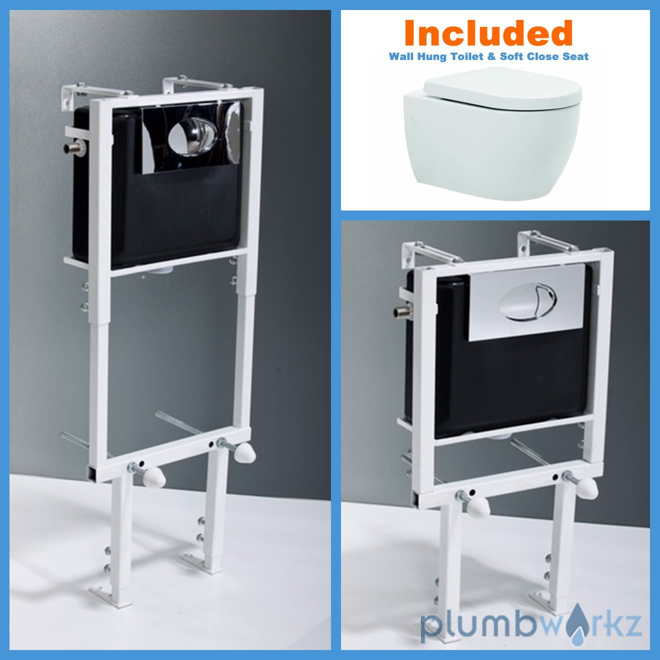 Toilet WC Height Adjustable Wall Hung Concealed Cistern White Toilet ...