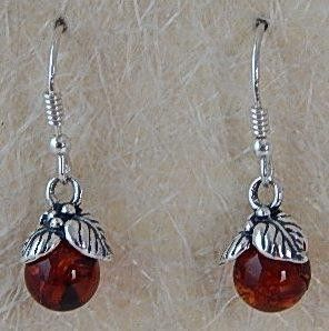 Baltic Amber Earrings with Sterling Silver Leafs - gaia rising metaphysical