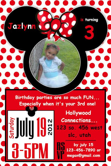 17 Best images about Mickey and Minnie Birthday Invitations on – Minnie Mouse Invitation Cards