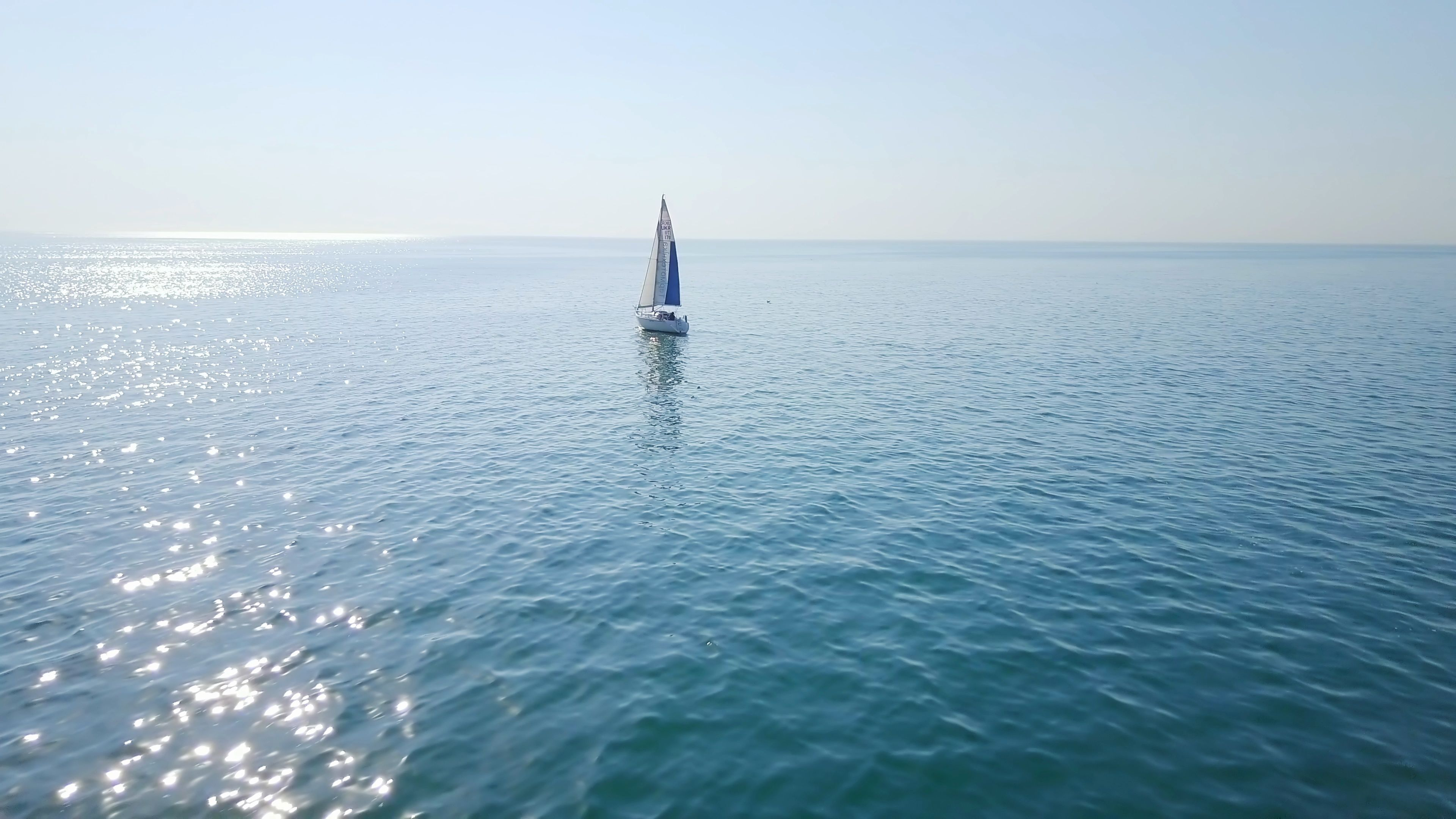 Luxury Yacht Sailing On Opened Sea At Sunrise Drone Footage Stock
