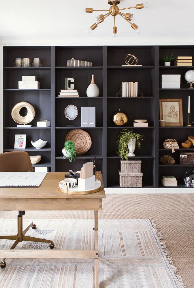 Bold Black Accent Wall Ideas Home Office Furniture Home Office Decor Home Office Shelves