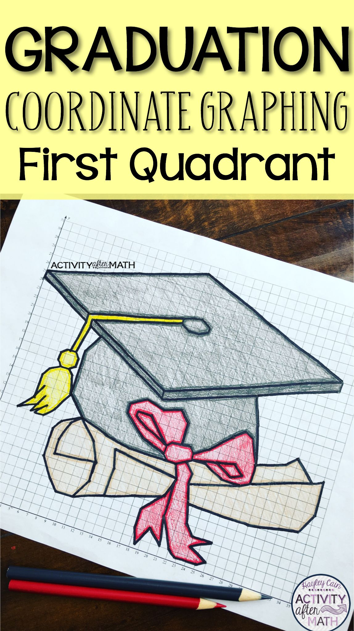 Graduation Cap Coordinate Graphing Picture First Quadrant