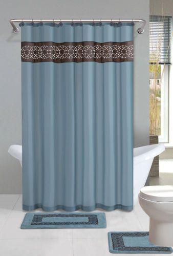 Blue Rings Modern Shower Curtain 15 Pcs Bath Rug Mat Contour Hooks Bathroom Set