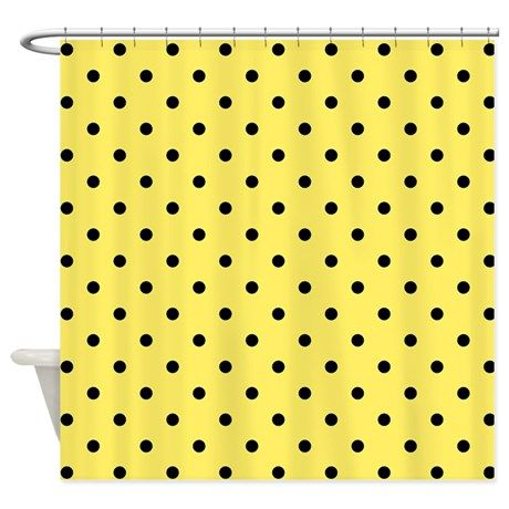 Yellow and black polka dot. Shower Curtain