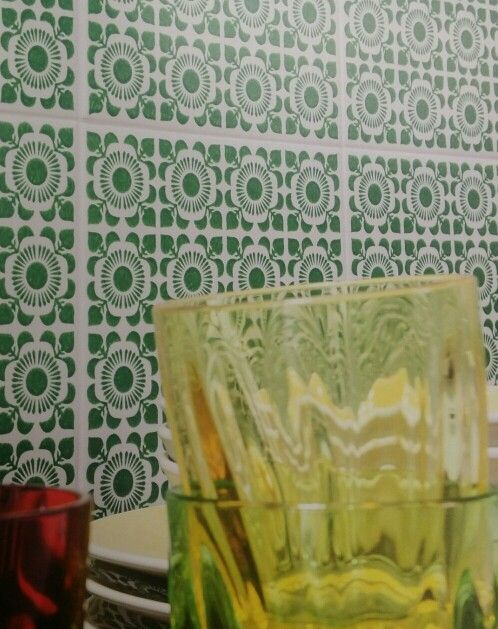 Green And White Patterned Kitchen Tiles Patterned Wall Tiles