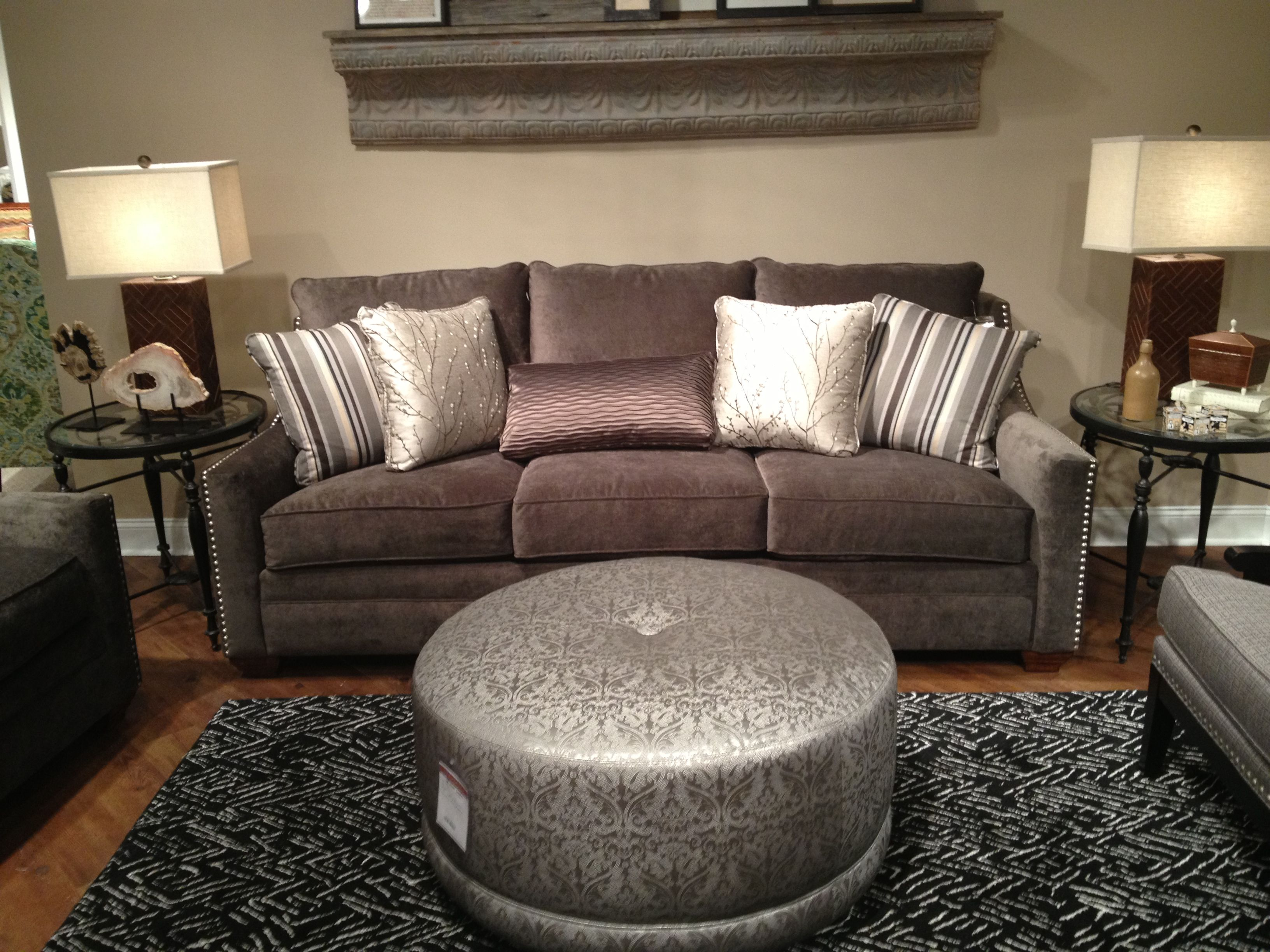 Beautiful Oversized Craftmaster Sofa Shown In Gray Brushed