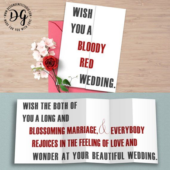 Funny Game Of Thrones Wedding Card, Red Wedding Card, GOT