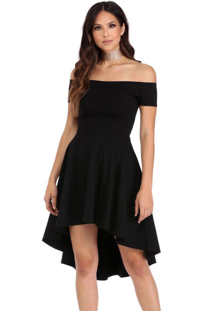 3e4fc6e8406 Black Off Shoulder Cocktail Party Skater Dress MB61346-2 – ModeShe.com
