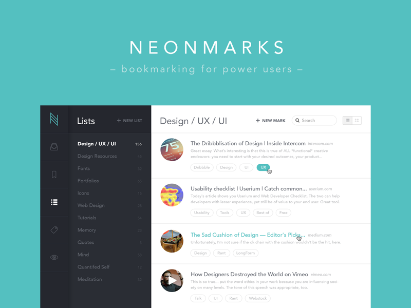 Neonmarks - Bookmarking for Power Users | Interface design, User ...