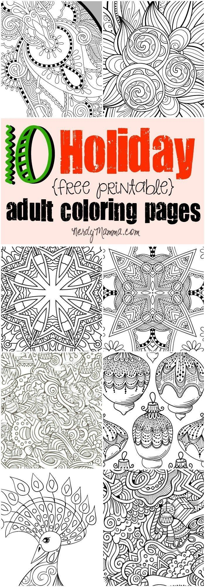 10 Free Printable Holiday Adult Coloring Pages