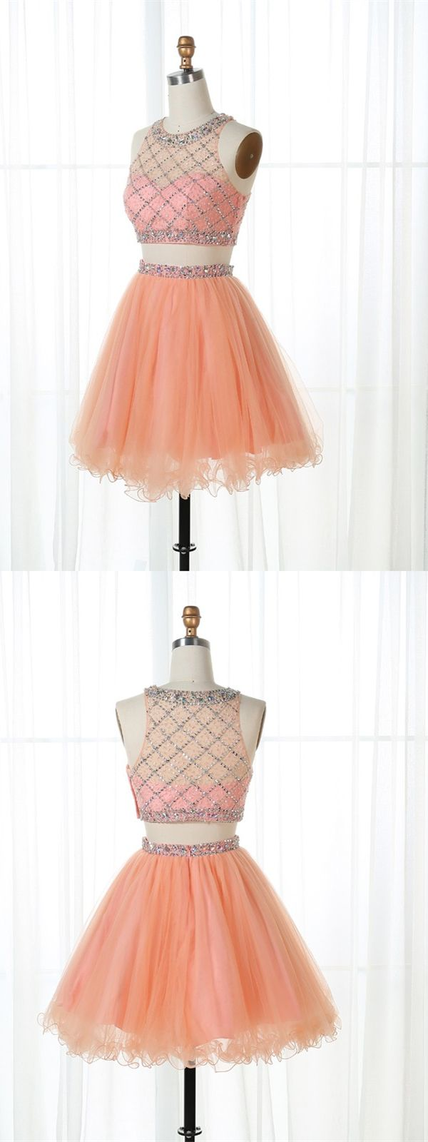 Two piece bateau short peach tulle homecoming dress with beading