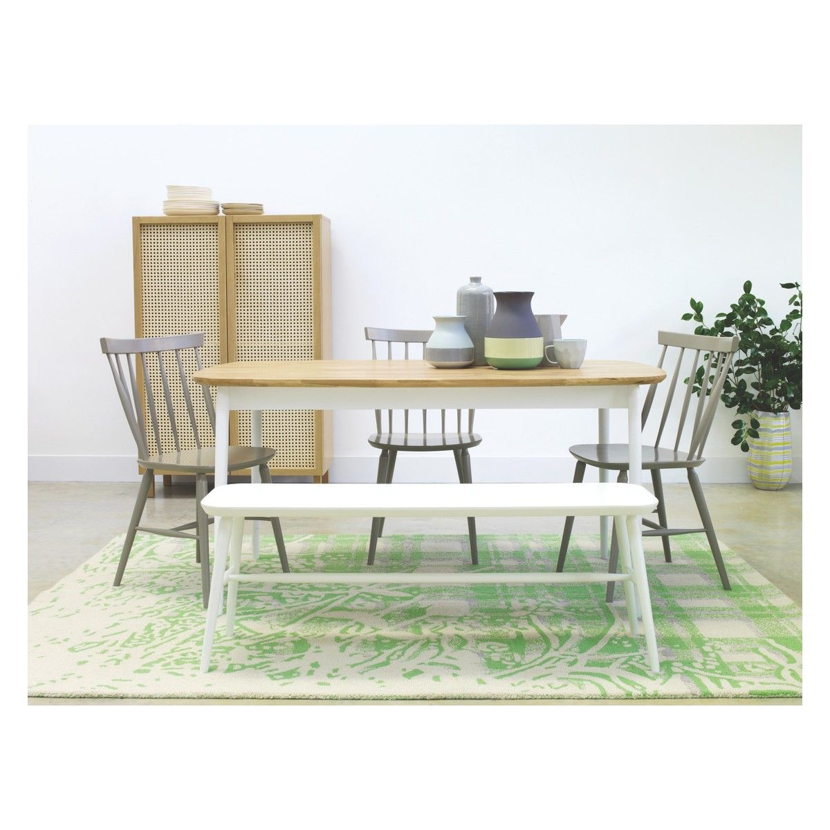Oak Dining Table TALIA White Bench