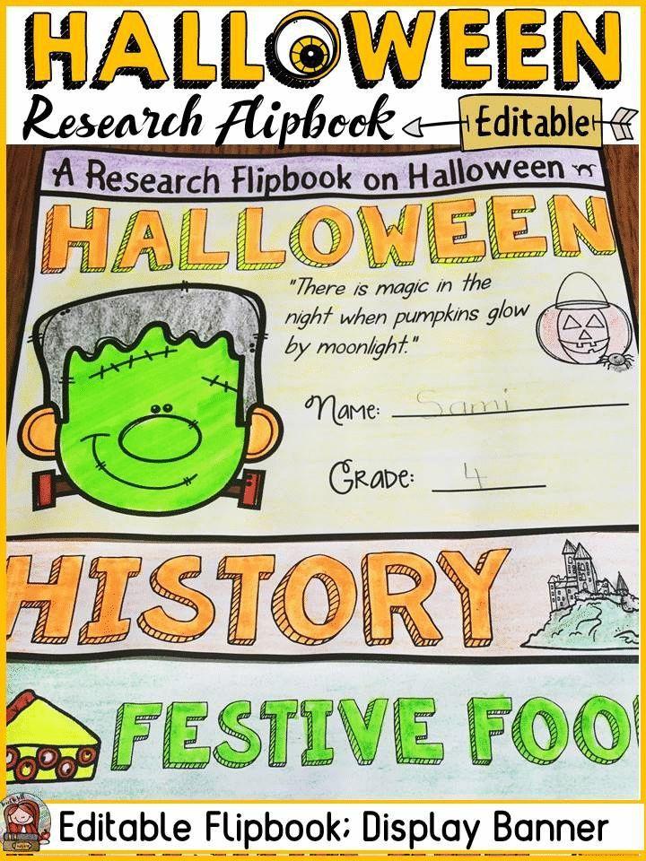 Halloween editable flipbook informational report writing research - halloween writing ideas