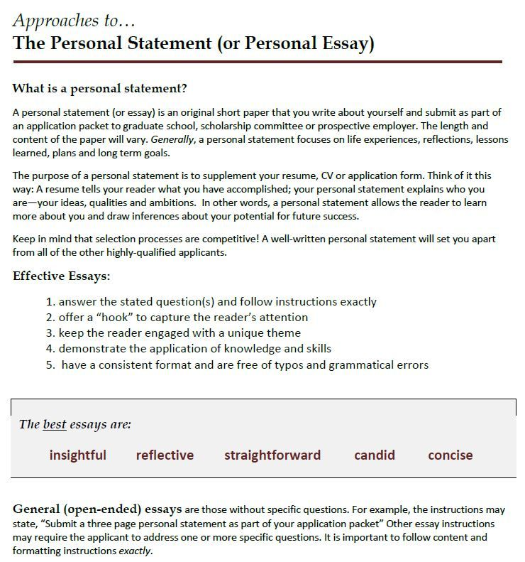 Writing A Personal Statement Courtesy Of Dr Robin Walker
