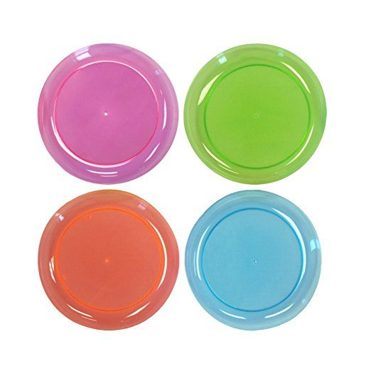 Party Essentials Hard Plastic 6 Inch Round Party Dessert Plates Assorted Neon 40 Count Childrens Party Plates Party Plates Plates