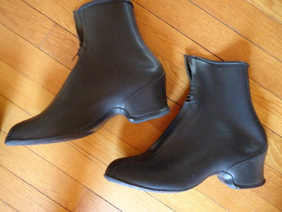 Women S Vintage Black Rubber Overshoes Galoshes Rain By