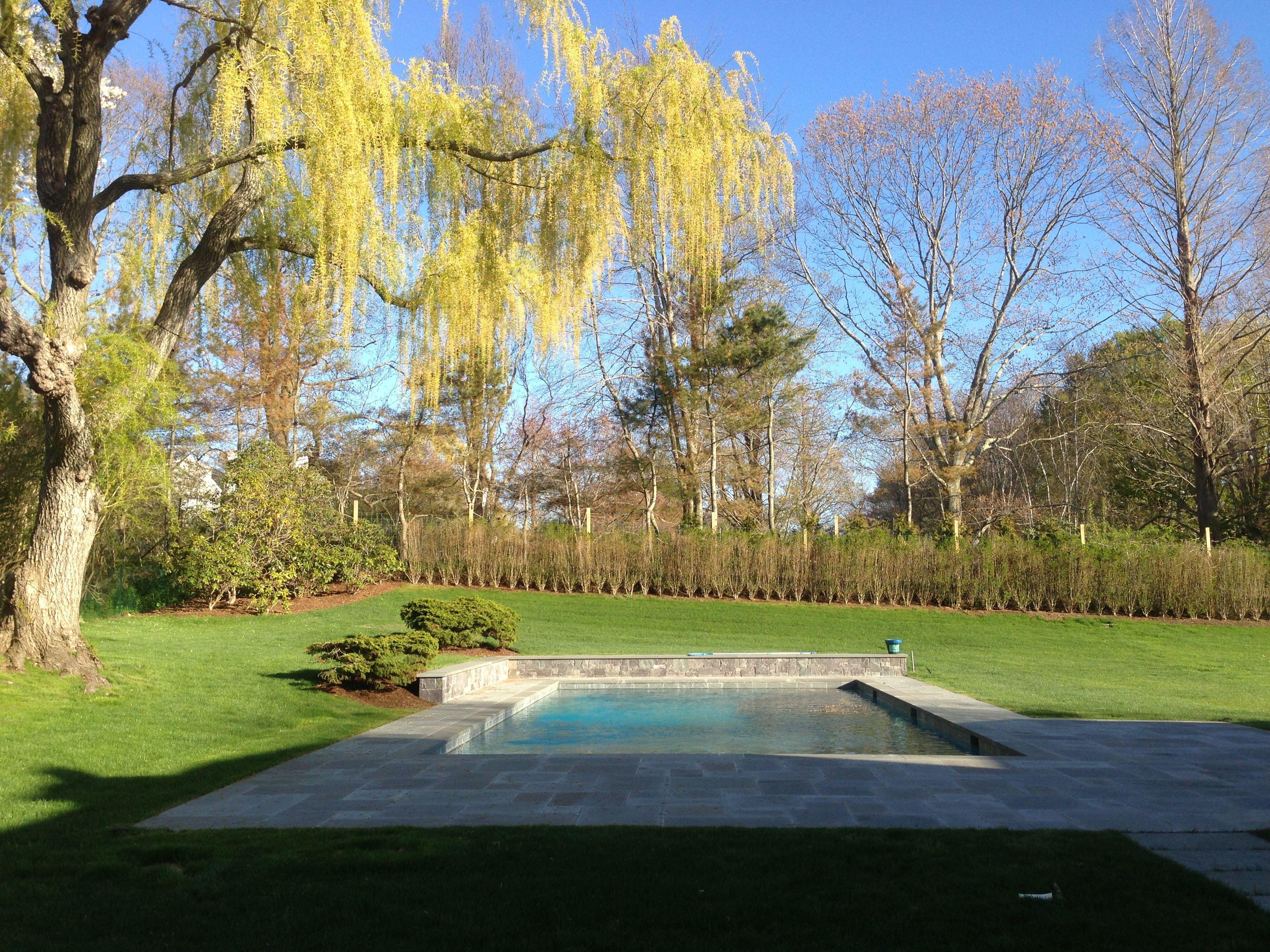 East Hampton gunite pool stone patio & retaining wall