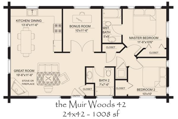 Muir Woods 42 Log Home Floor 600 401 Houses