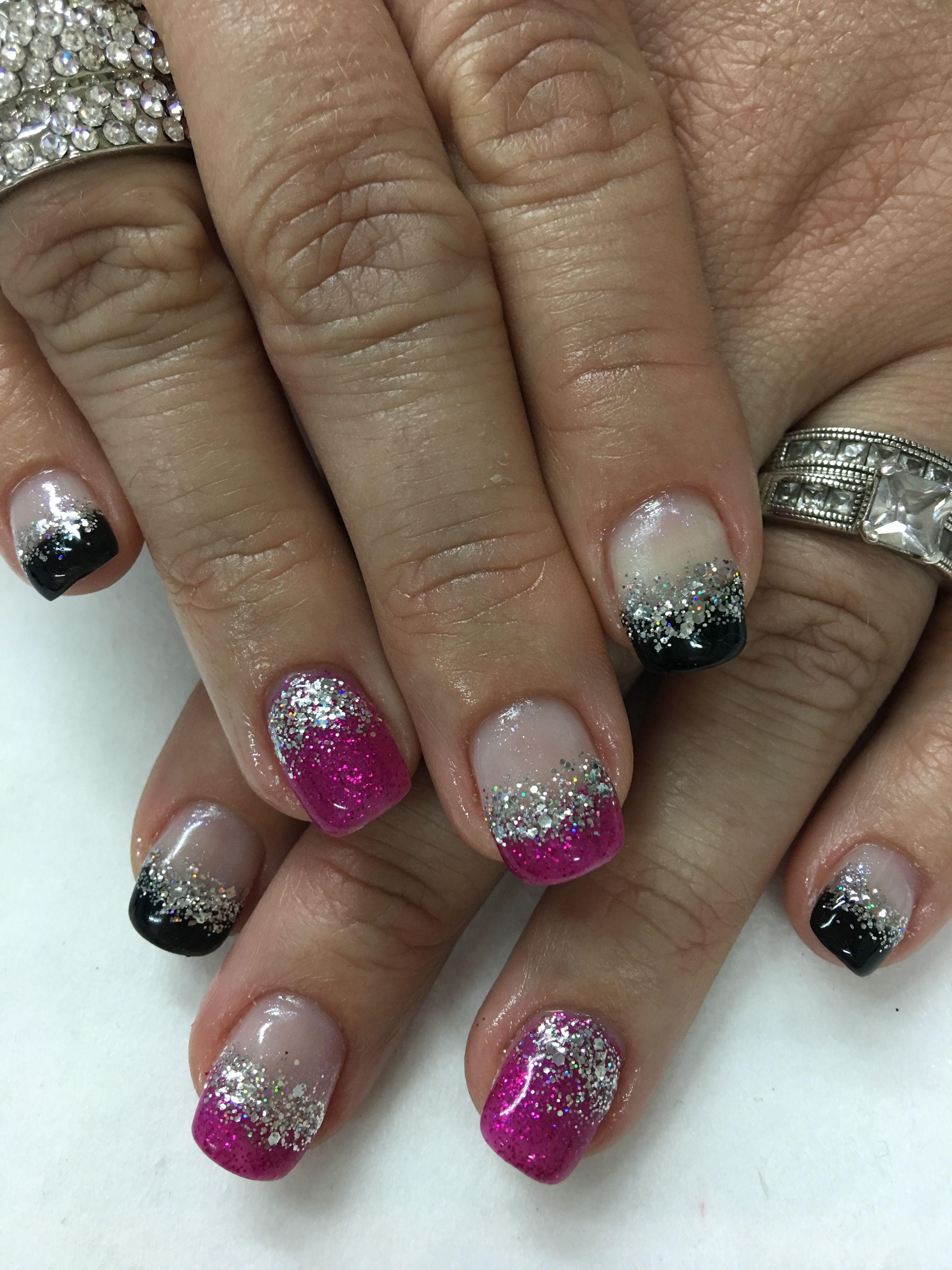 pink glitter amp black french silver chunky glitter gel