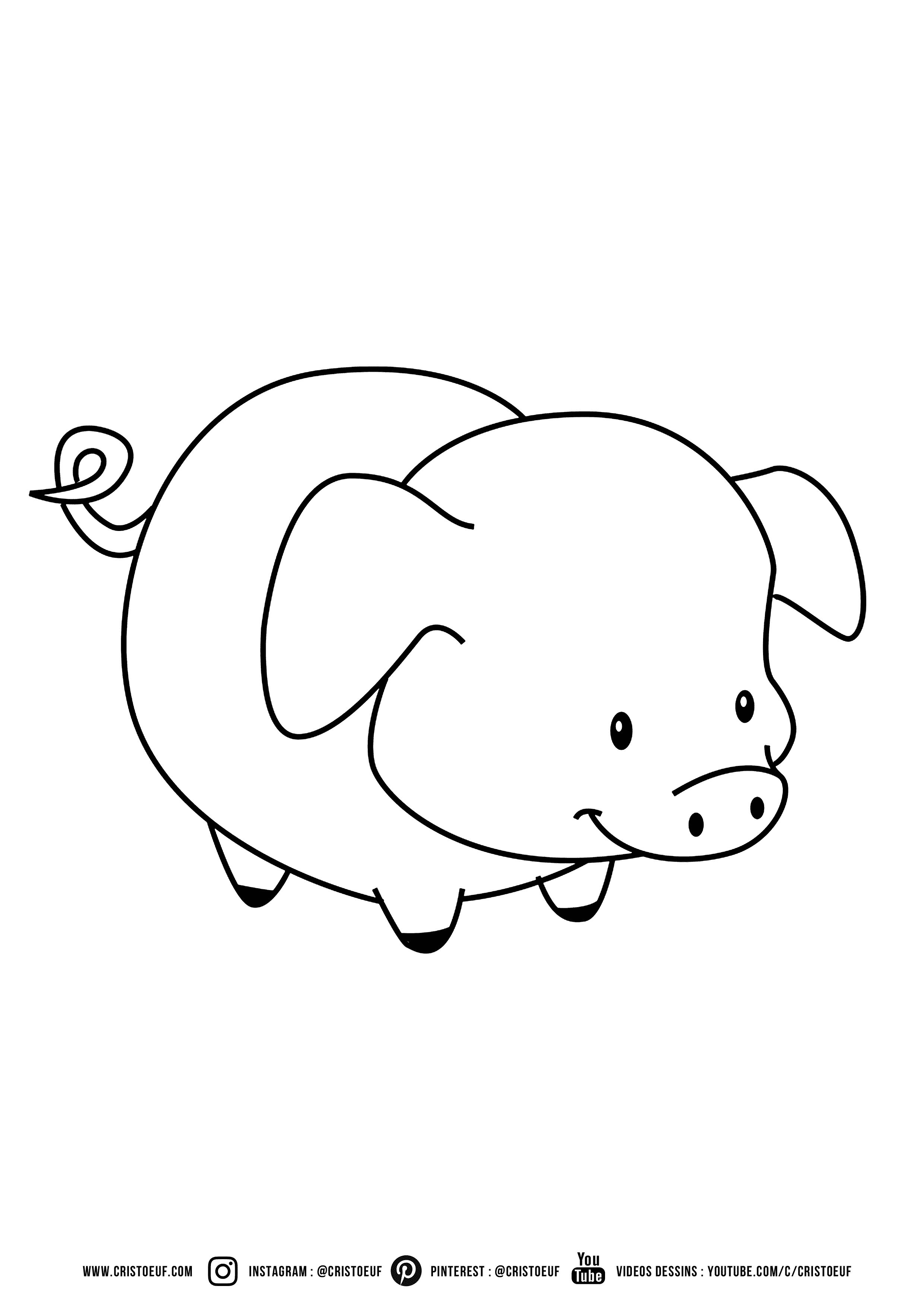 Coloriage Pig Cartoon Cute Enfant Coloring For Kids Colouring