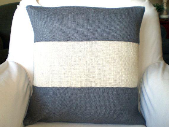 Gray Cream Burlap Color Block Pillow Cover, Throw Pillow