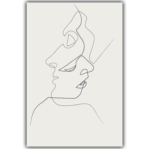 Picasso Simple Line Curve Black White Abstract Painting Kiss A4 Art Print Poster Canvas Mural