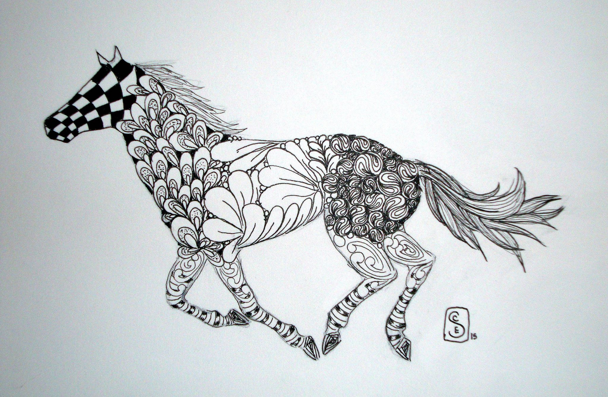 Zen Horse | Tangle art, Animal coloring pages, Horses