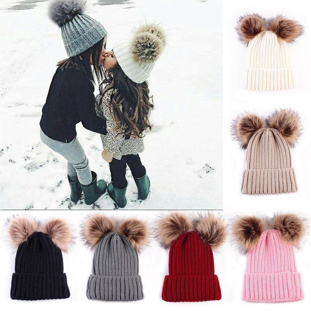 da1d5ab5006 Boy Baby Clothes · Boy Clothing · Mom Lady Women Girls Winter Warm Double  Fur Pom Bobble Knit Beanie Hat Cap