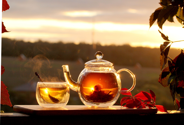 Обои мята, чай, чайник, доски. Еда foto 16