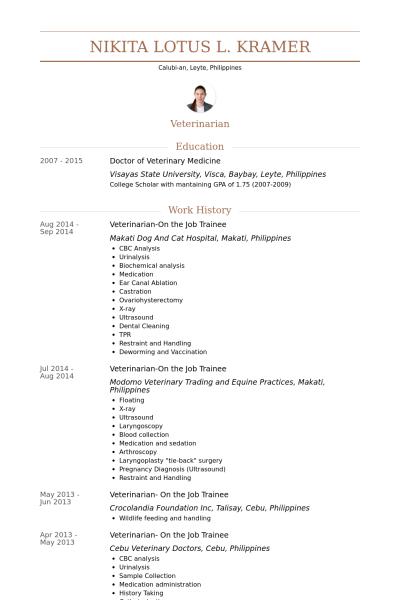 Doctor of veterinary medicine resume