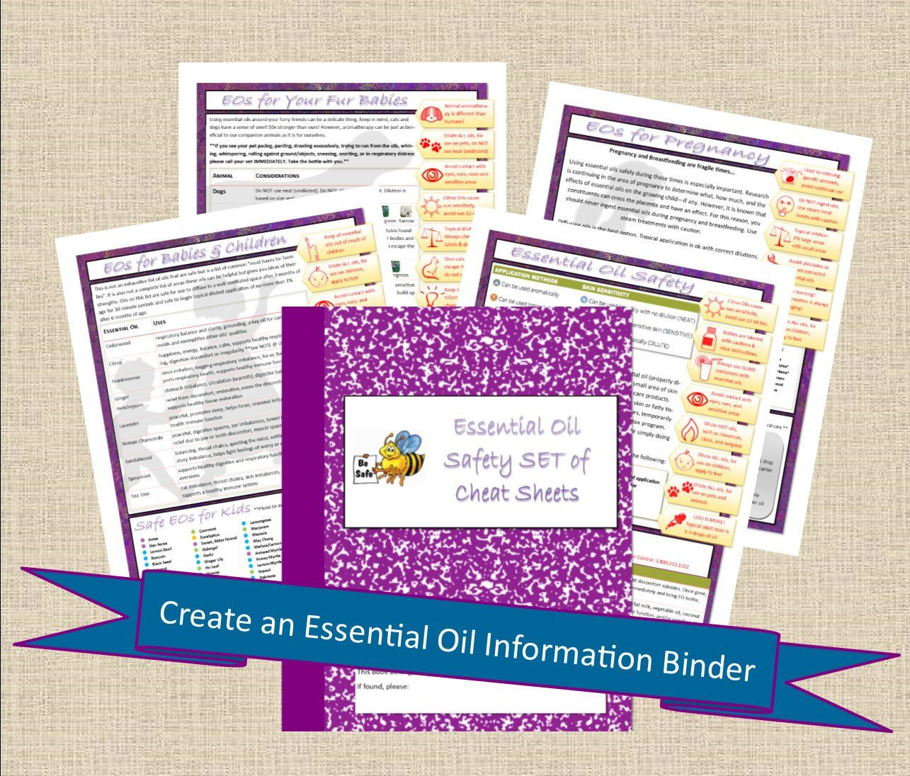 Essential Oils Guide Safety Cheat Sheet Set Printable