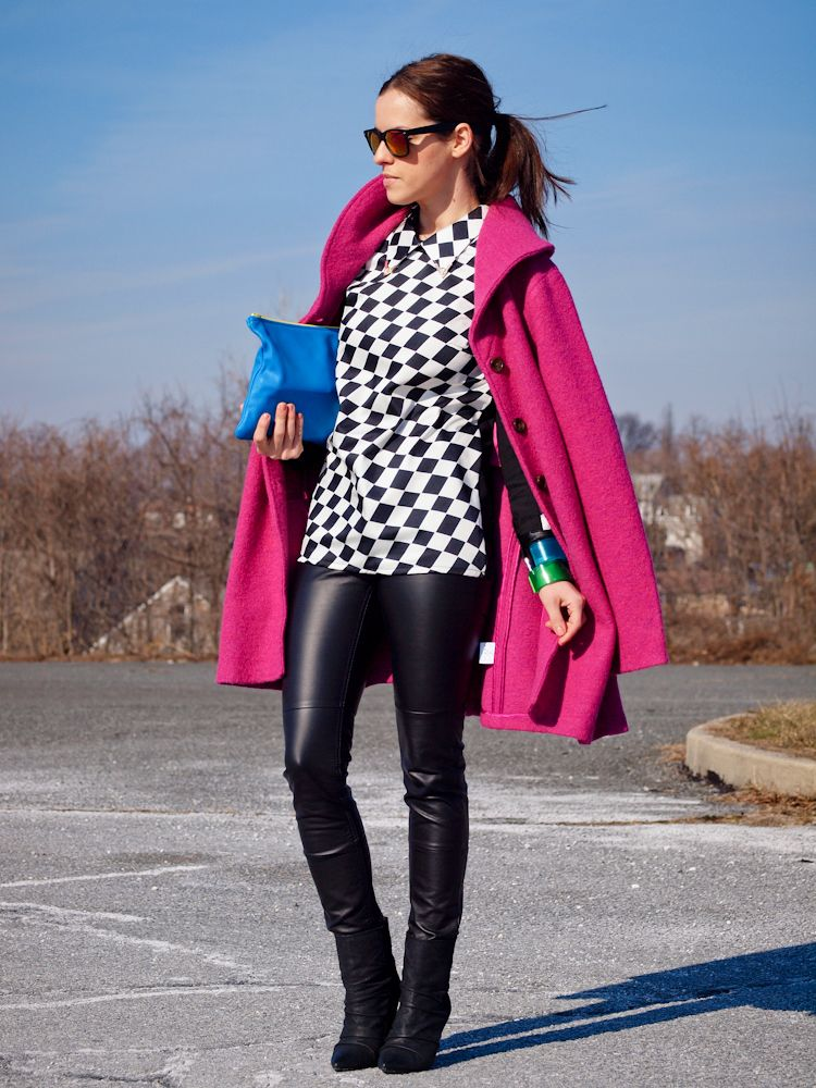geometric top with leather trousers and coat