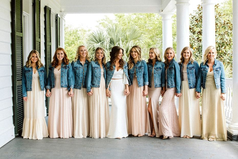 6 Times Denim Was Done Right At A Wedding Short Bridesmaid Dresses Wedding Bridesmaids Wedding