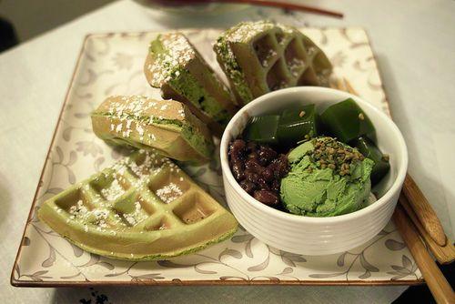 Photo of macha green tea waffles!!